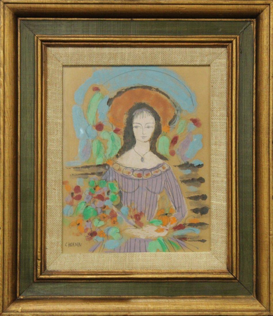 C HERNIN, Watercolor, GIRL HOLDING BOUQUET FLOWERS