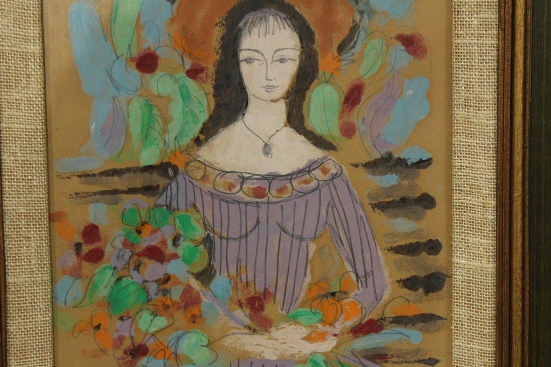 C HERNIN, Watercolor, GIRL HOLDING BOUQUET FLOWERS - 2