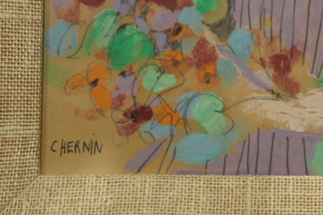 C HERNIN, Watercolor, GIRL HOLDING BOUQUET FLOWERS - 3