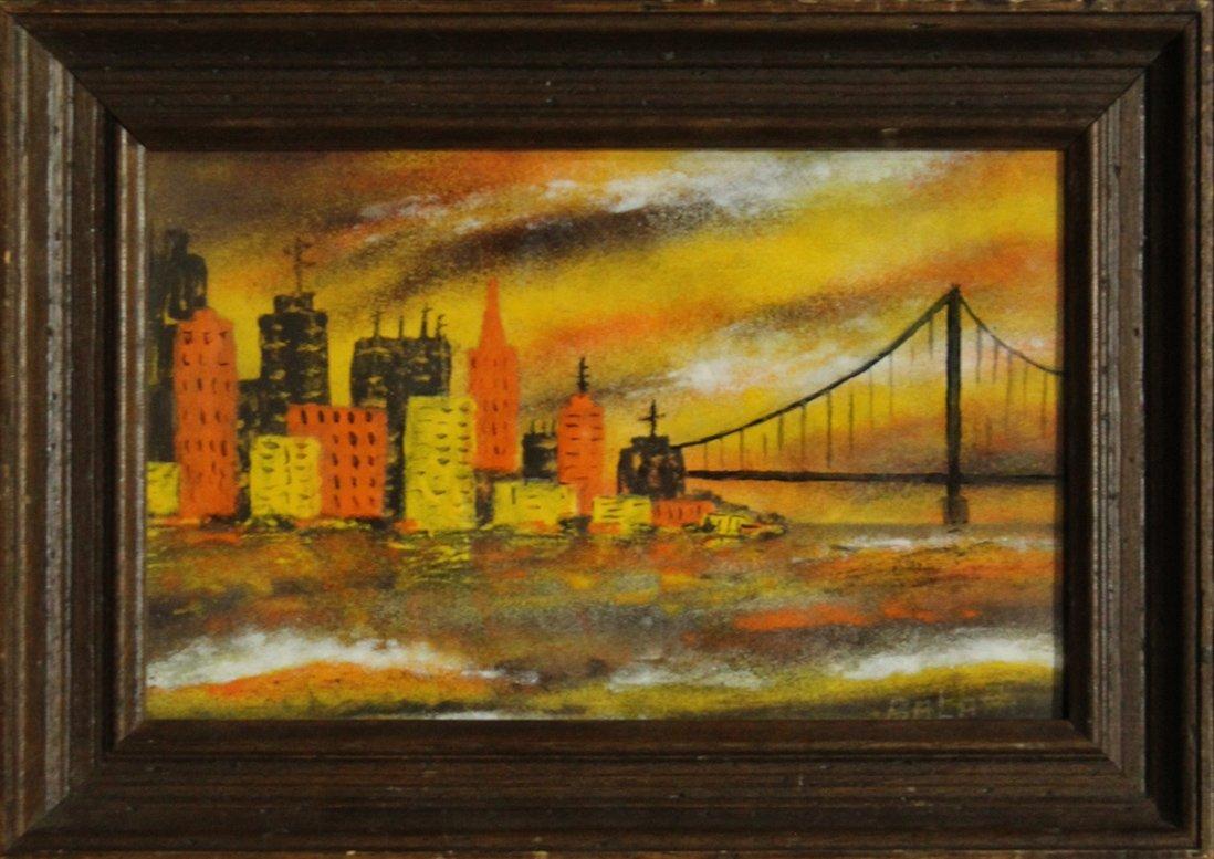 BALATTI oil/b MID CENTURY MANHATTAN NYC CITYSCAPE