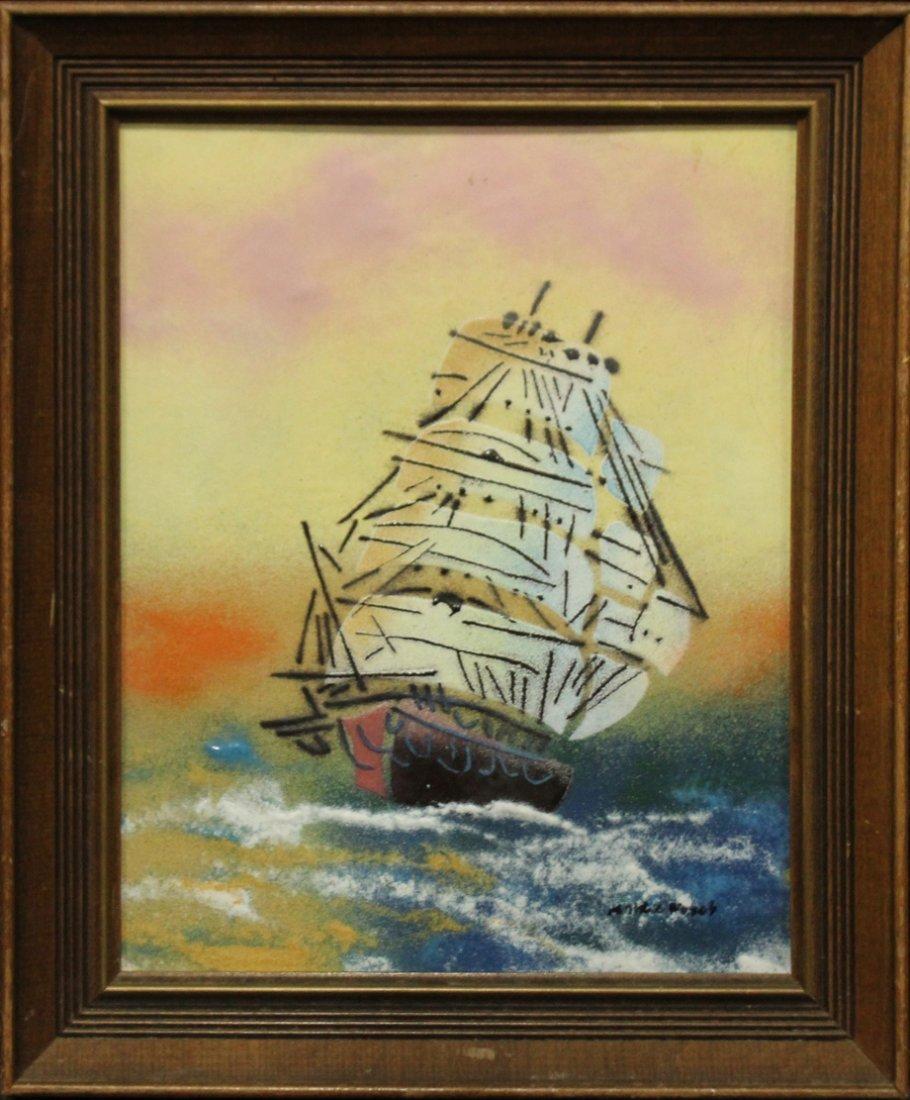 MID CENTURY ENAMEL ART ON COPPER CLIPPER SHIP SIGNED