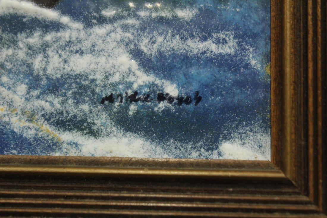 MID CENTURY ENAMEL ART ON COPPER CLIPPER SHIP SIGNED - 2
