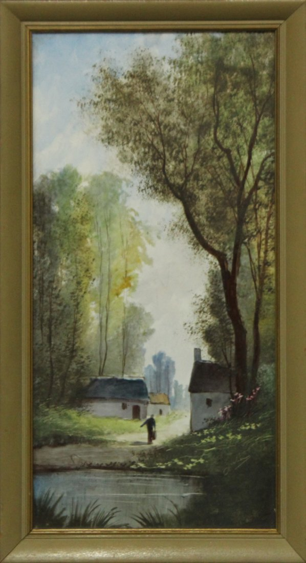 Signed JULIUS Oil Painting On Porcelain Panel LANDSCAPE