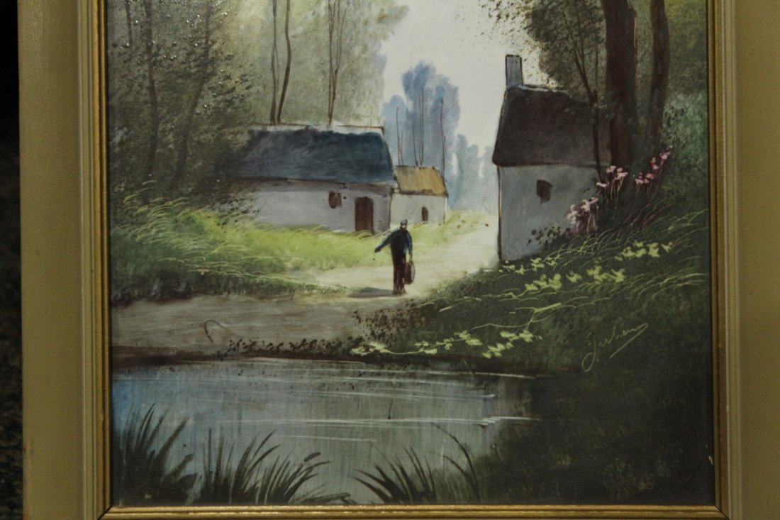Signed JULIUS Oil Painting On Porcelain Panel LANDSCAPE - 2