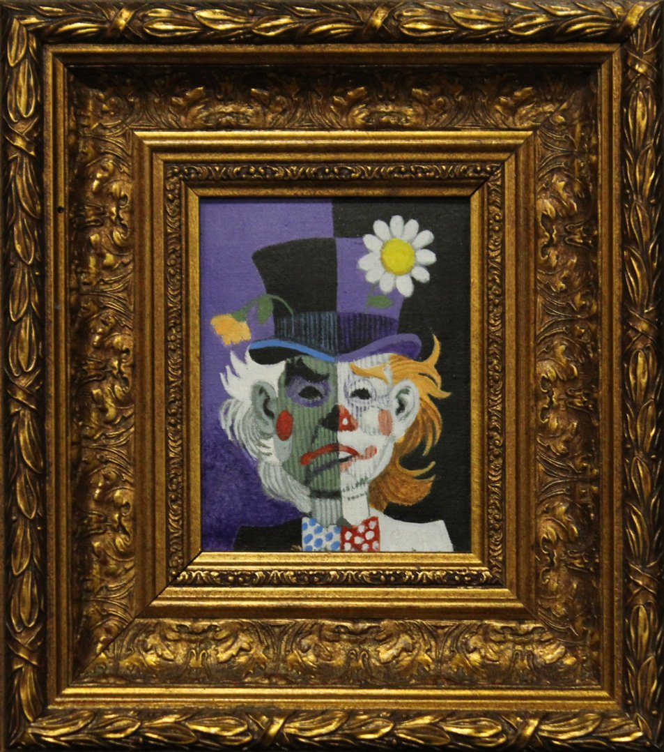 MID CENTURY MODERN 2-FACE CLOWN OIL PAINTING