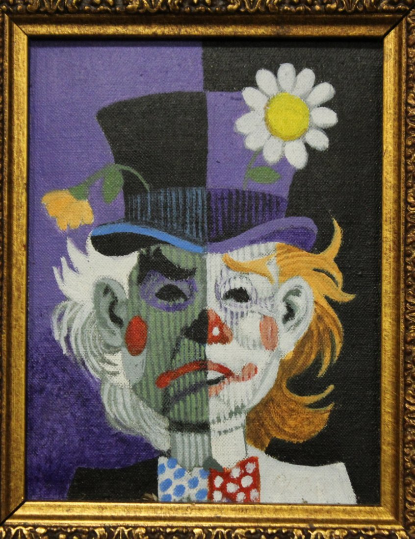 MID CENTURY MODERN 2-FACE CLOWN OIL PAINTING - 2