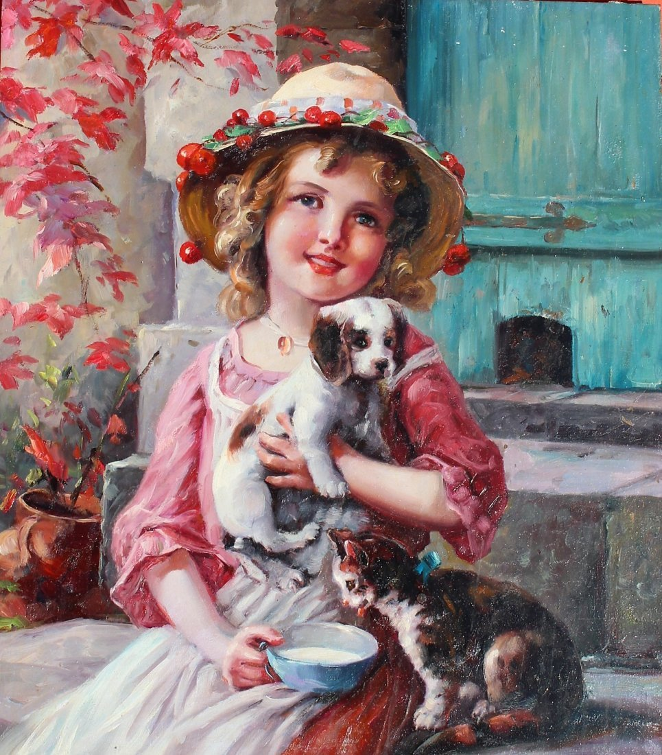 Fabulous OIL ,A YOUNG GIRL WITH PUPPY AND KITTEN