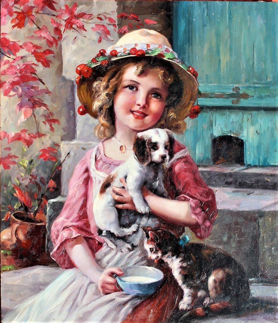 Fabulous OIL ,A YOUNG GIRL WITH PUPPY AND KITTEN - 2