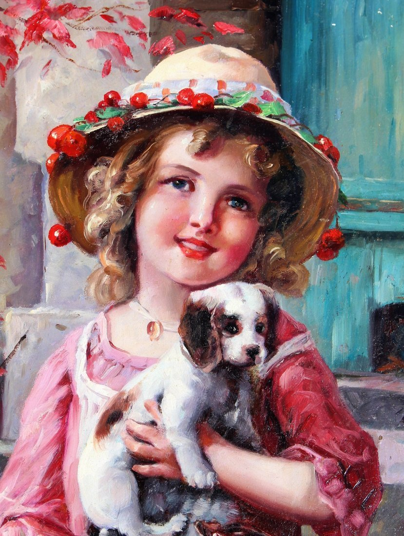 Fabulous OIL ,A YOUNG GIRL WITH PUPPY AND KITTEN - 4