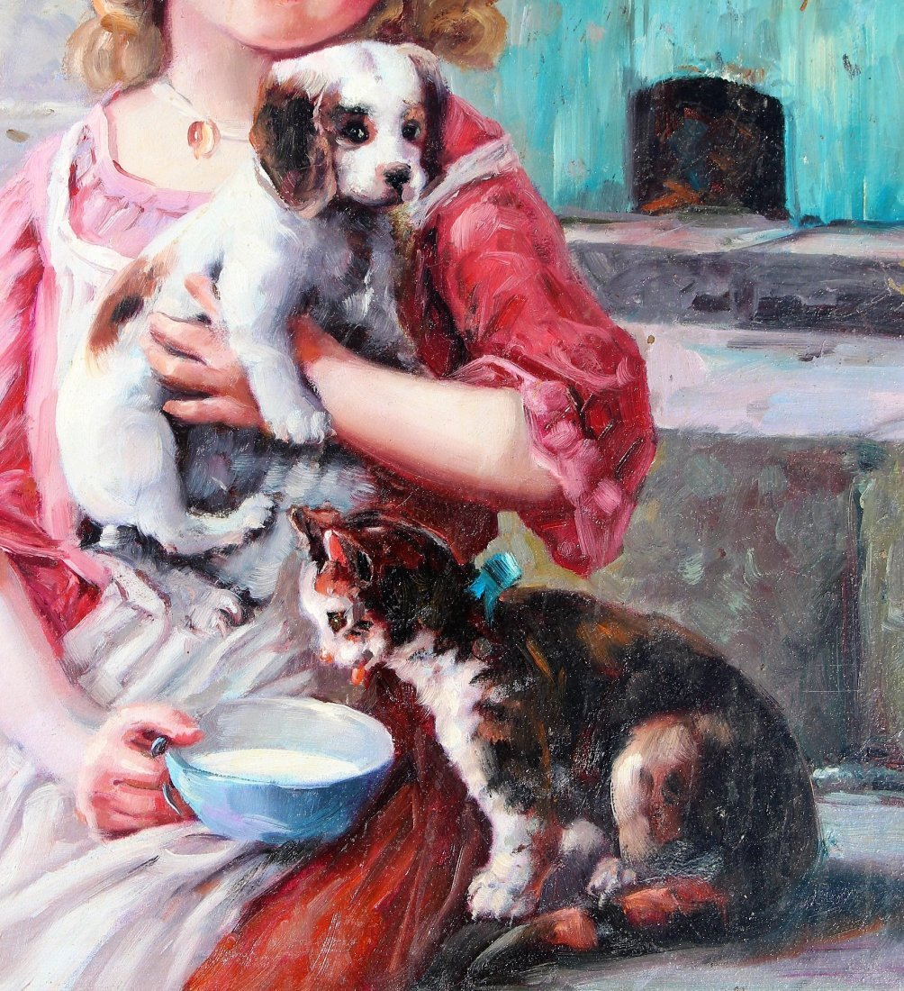 Fabulous OIL ,A YOUNG GIRL WITH PUPPY AND KITTEN - 5
