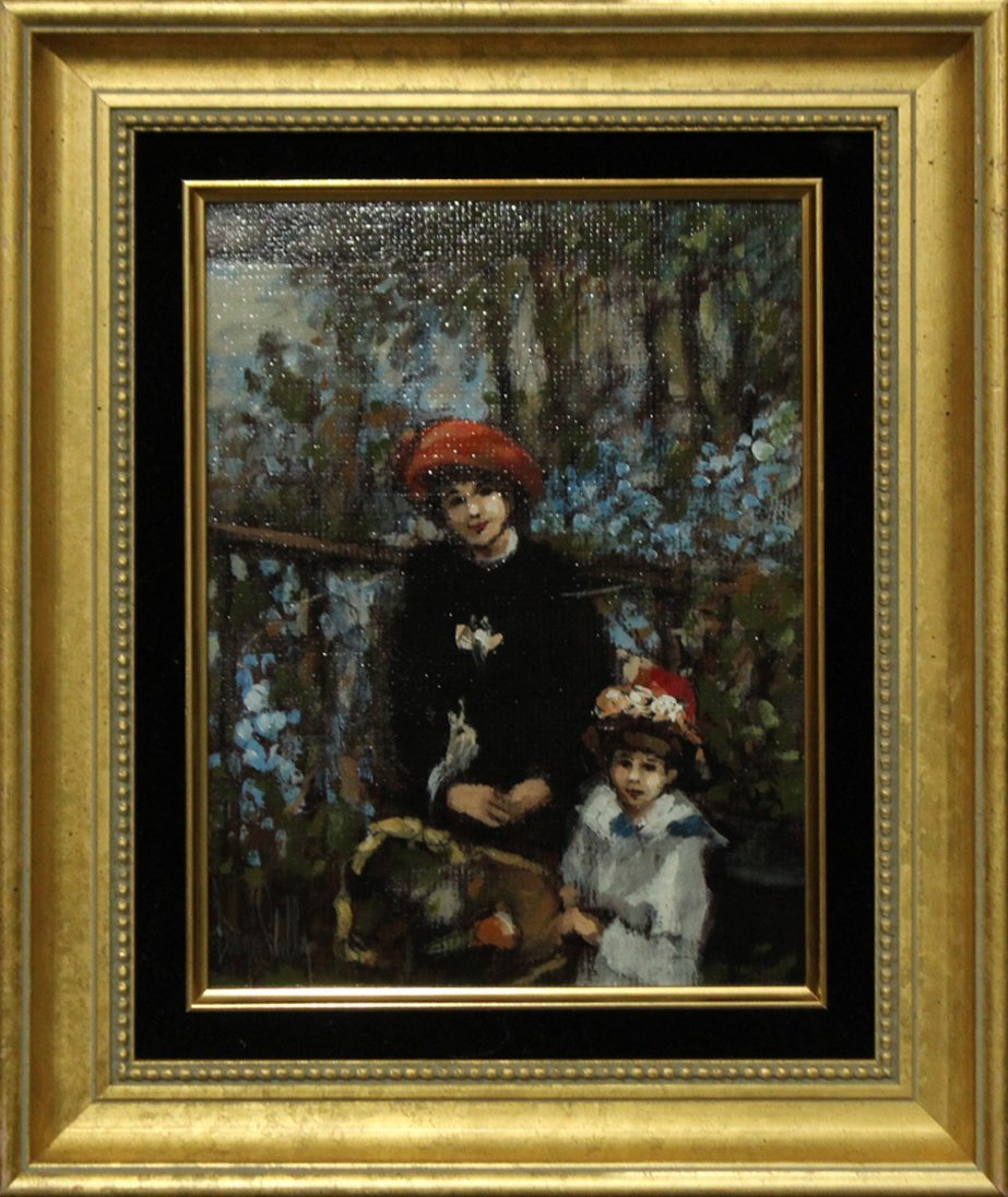 GEORGE SHELLY oil on board MOTHER AND DAUGHTER Painting