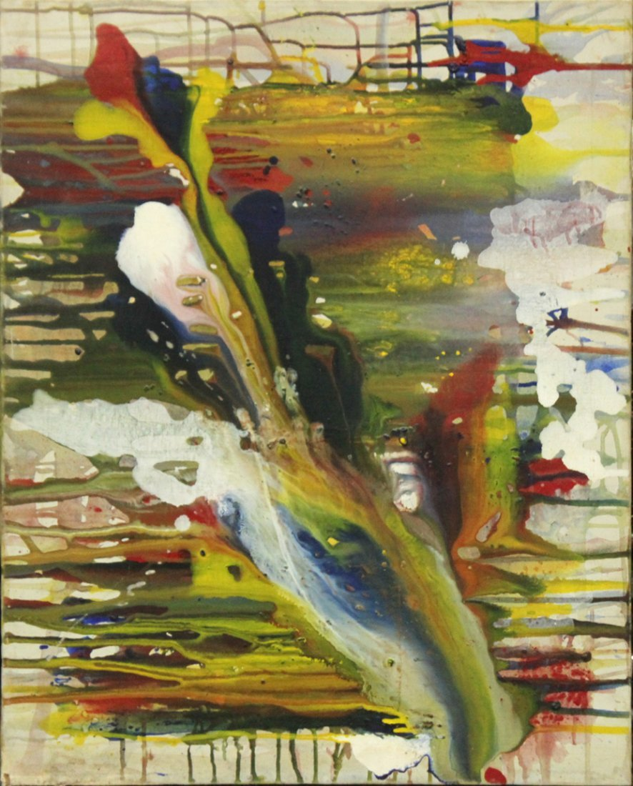 BARBARA GEO, MID CENTURY COLORFUL ABSTRACT OIL/C
