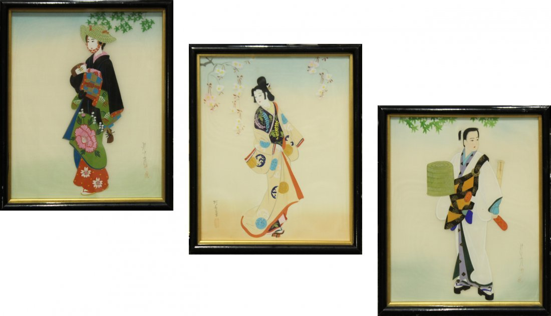 SERIES OF 3 ORIENTAL FASHION GIRL PAINTINGS ON SILK