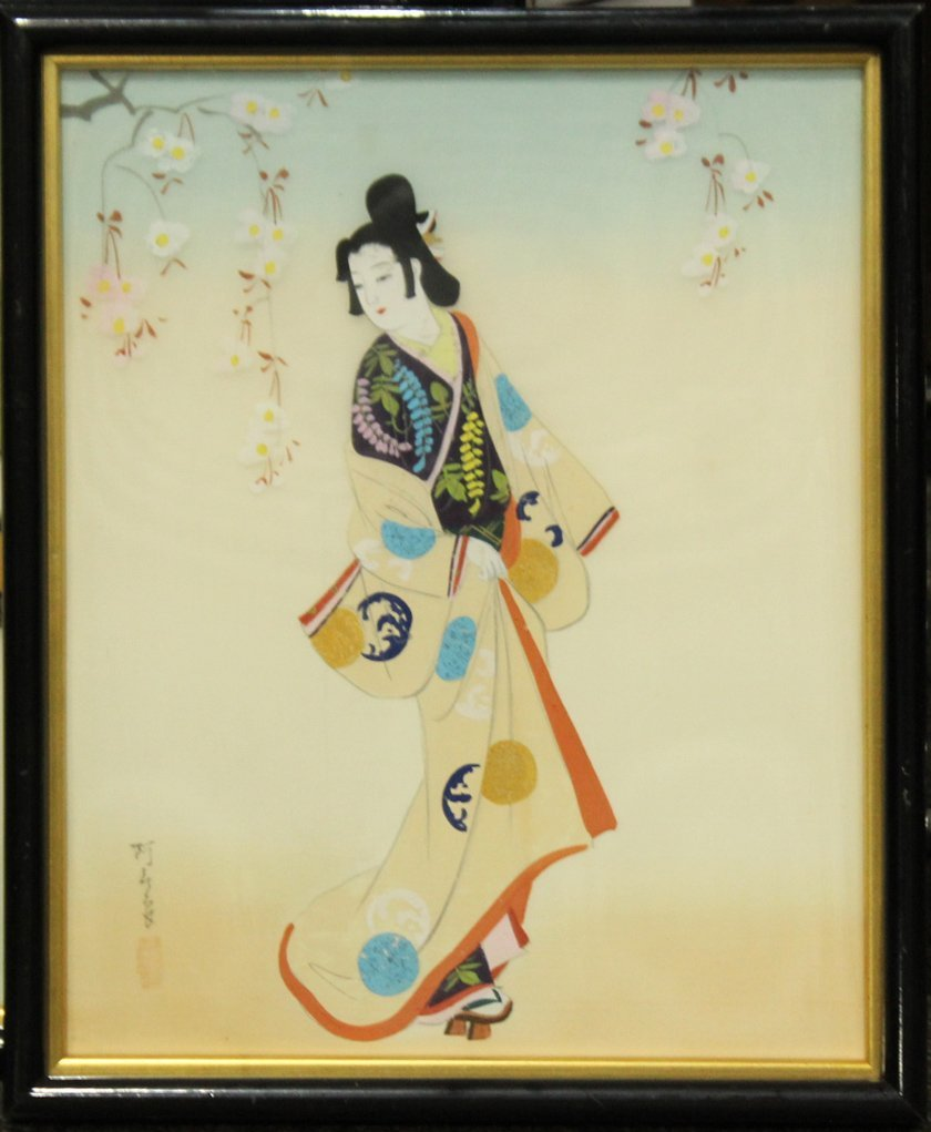 SERIES OF 3 ORIENTAL FASHION GIRL PAINTINGS ON SILK - 2