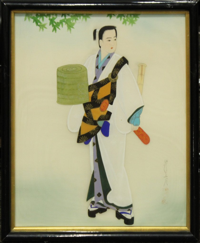 SERIES OF 3 ORIENTAL FASHION GIRL PAINTINGS ON SILK - 3