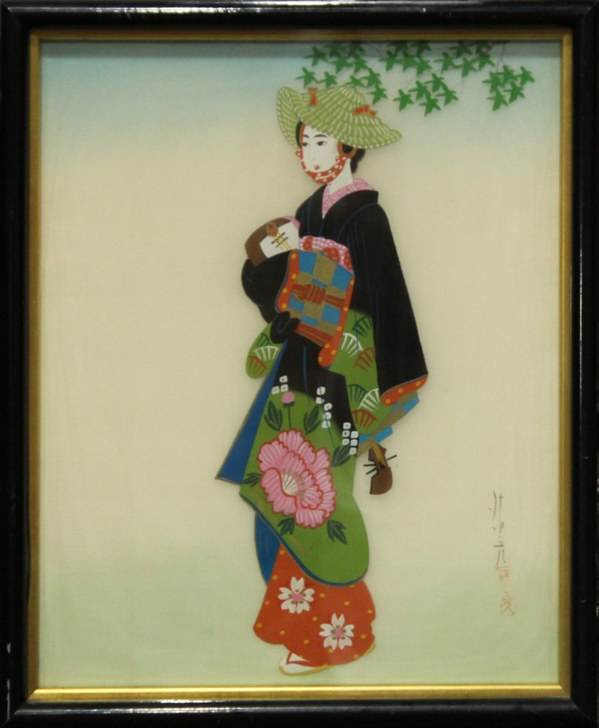 SERIES OF 3 ORIENTAL FASHION GIRL PAINTINGS ON SILK - 4