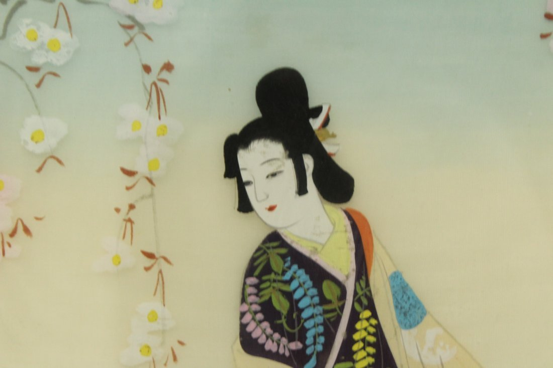 SERIES OF 3 ORIENTAL FASHION GIRL PAINTINGS ON SILK - 7