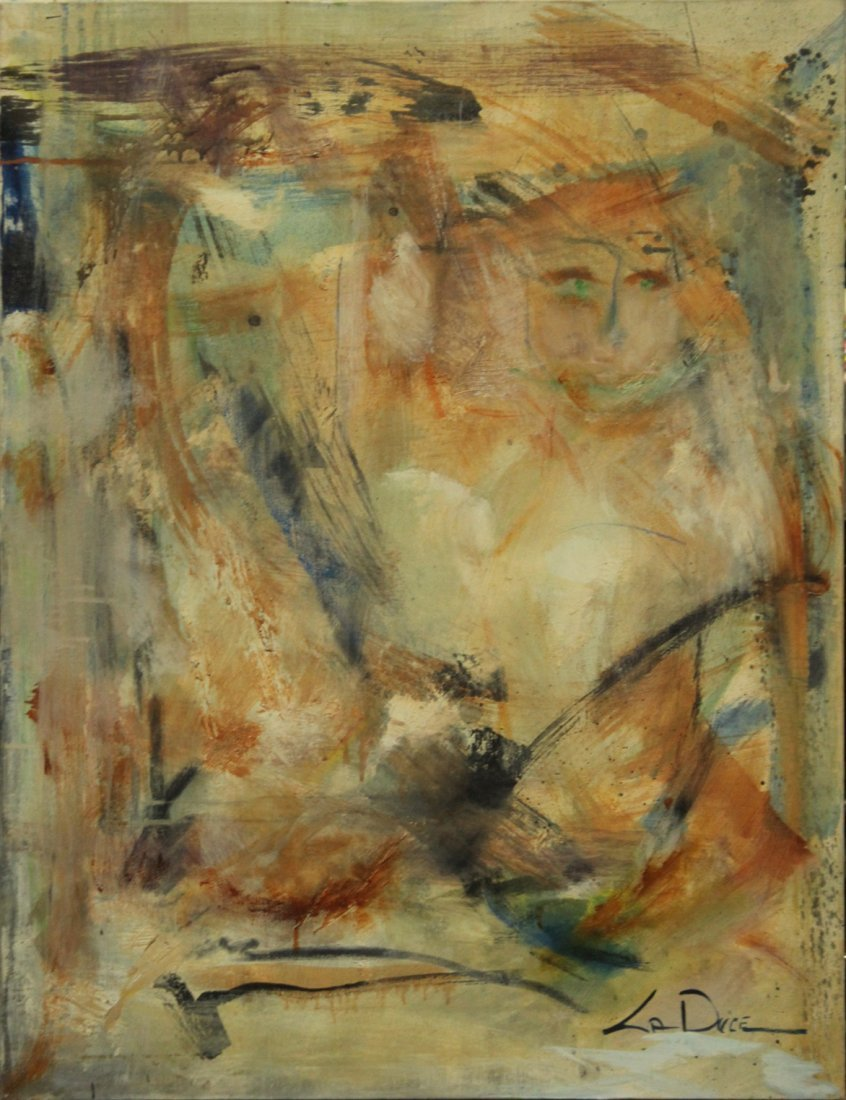 LA DUCE, Quality Mid Century Oil/c WOMAN IN ABSTRACT
