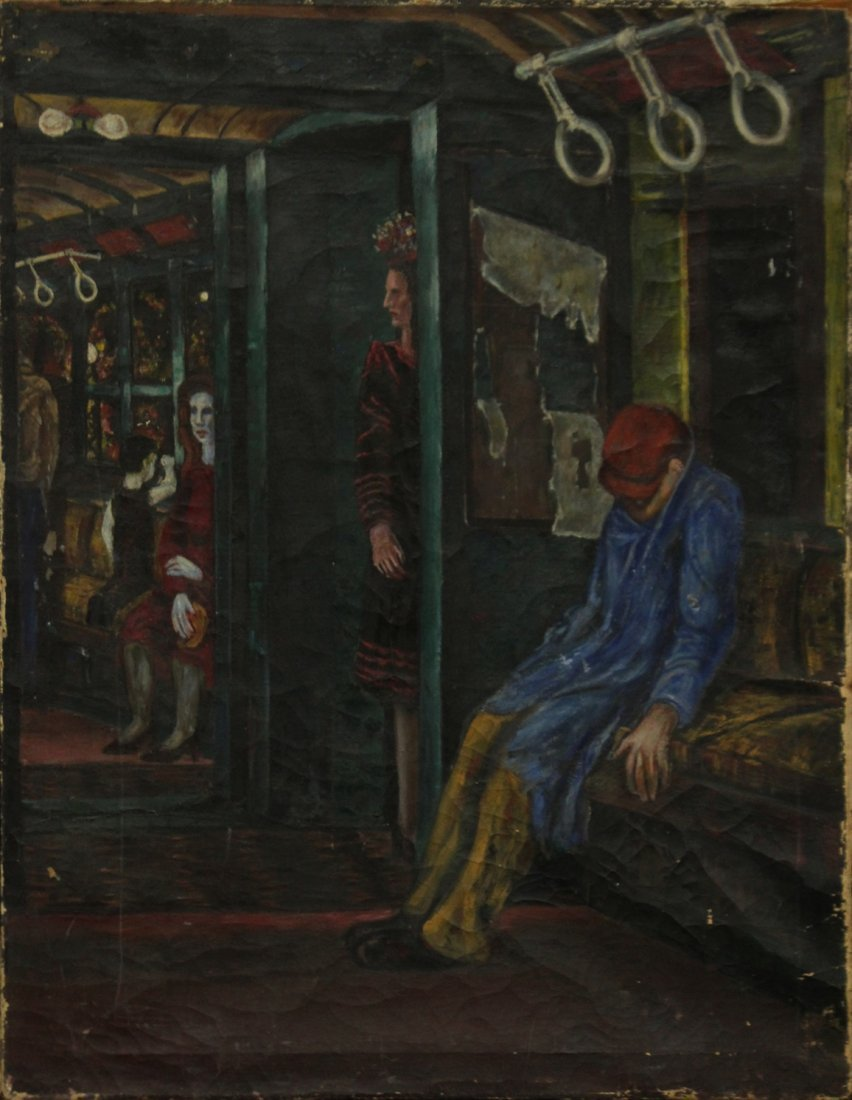 1930s URBAN OIL PAINTING FIGURES RIDING THE SUBWAY