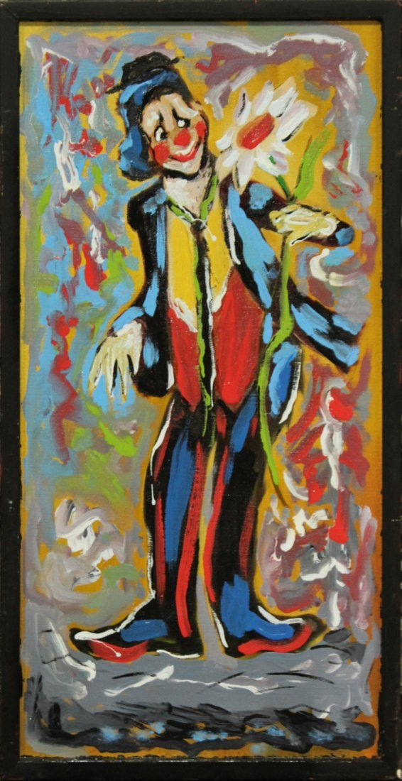 MID CENTURY OIL PAINTING CLOWN HOLDING FLOWER ABSTRACT