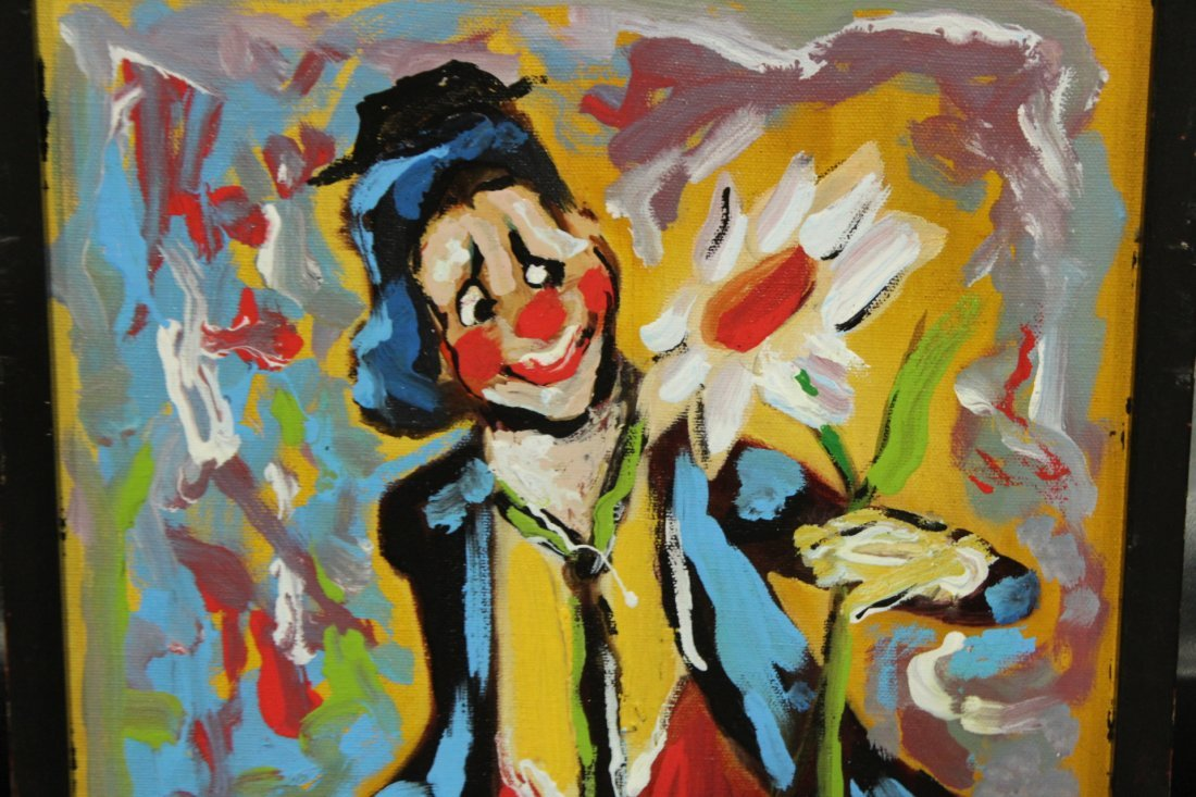 MID CENTURY OIL PAINTING CLOWN HOLDING FLOWER ABSTRACT - 2