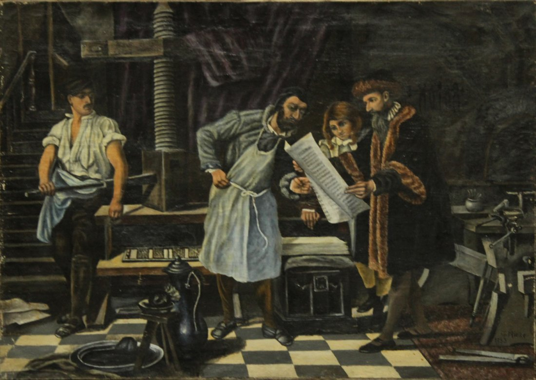 G. MIELKE 1853 OIL/C INDUSTRIAL SCENE WITH INVENTORS
