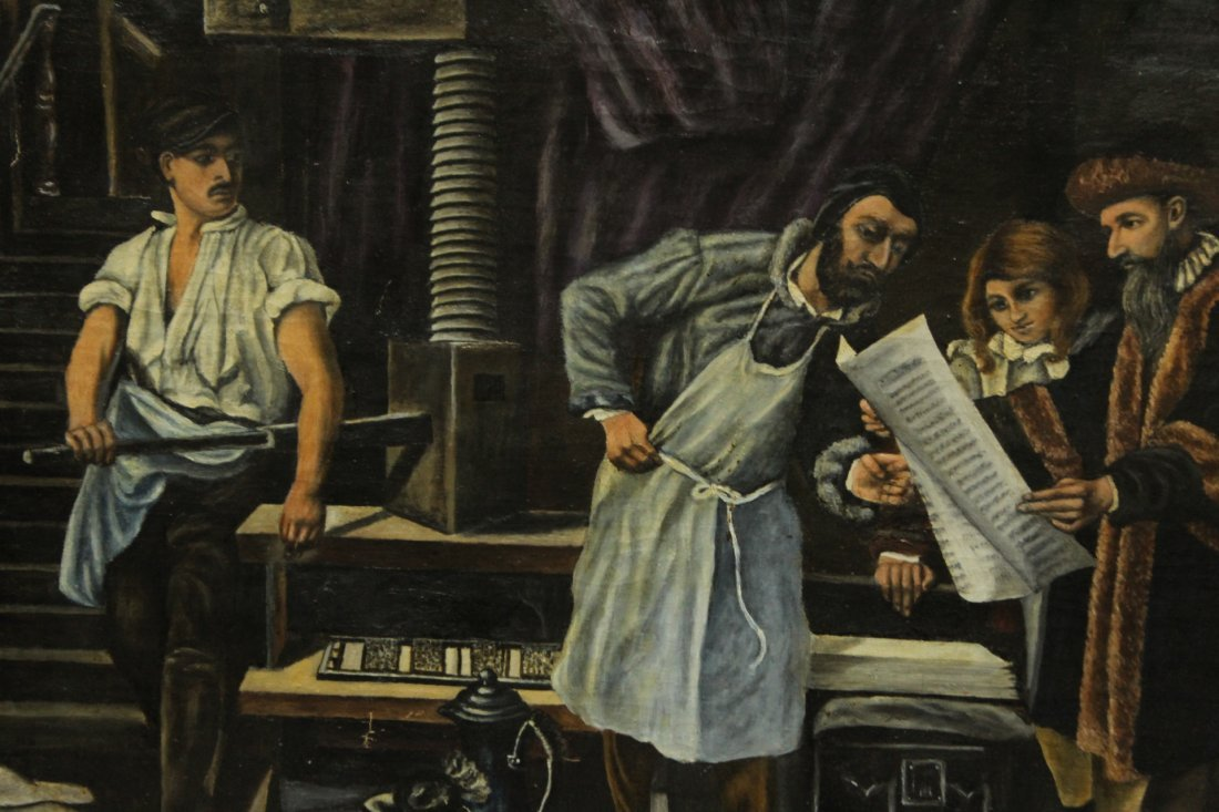 G. MIELKE 1853 OIL/C INDUSTRIAL SCENE WITH INVENTORS - 3