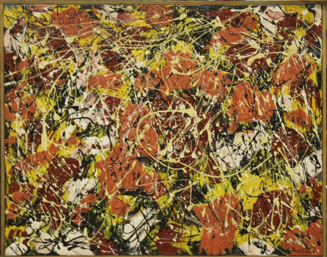 FRANK MILLER, Vintage Mid Century ABSTRACT DRIP ART OIL