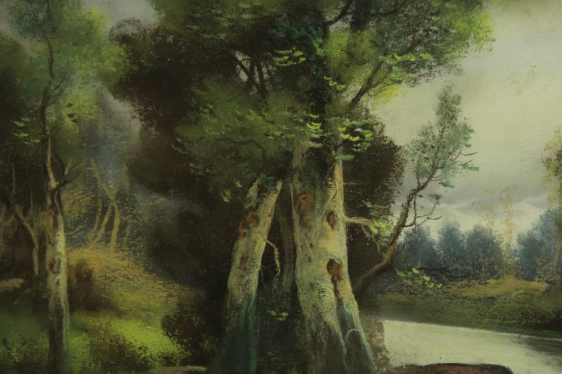 Circa 1920 FINE QUALITY PASTEL LANDSCAPE Artist Signed - 4