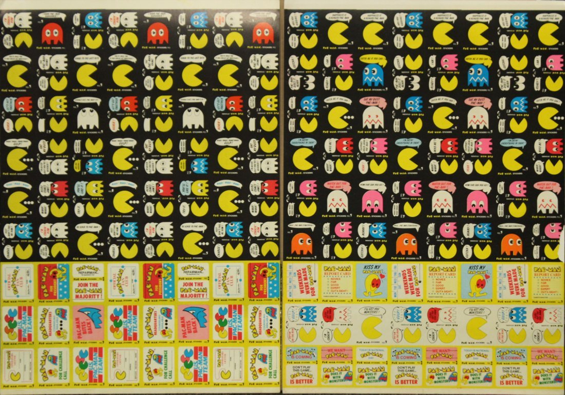 PAC MAN 2 Vintage Uncut Sheets STICKERS / TRADE CARDS