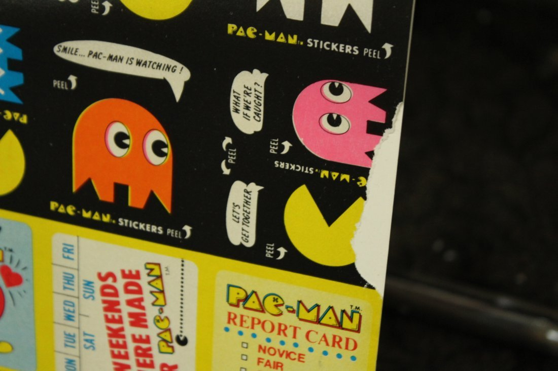 PAC MAN 2 Vintage Uncut Sheets STICKERS / TRADE CARDS - 4