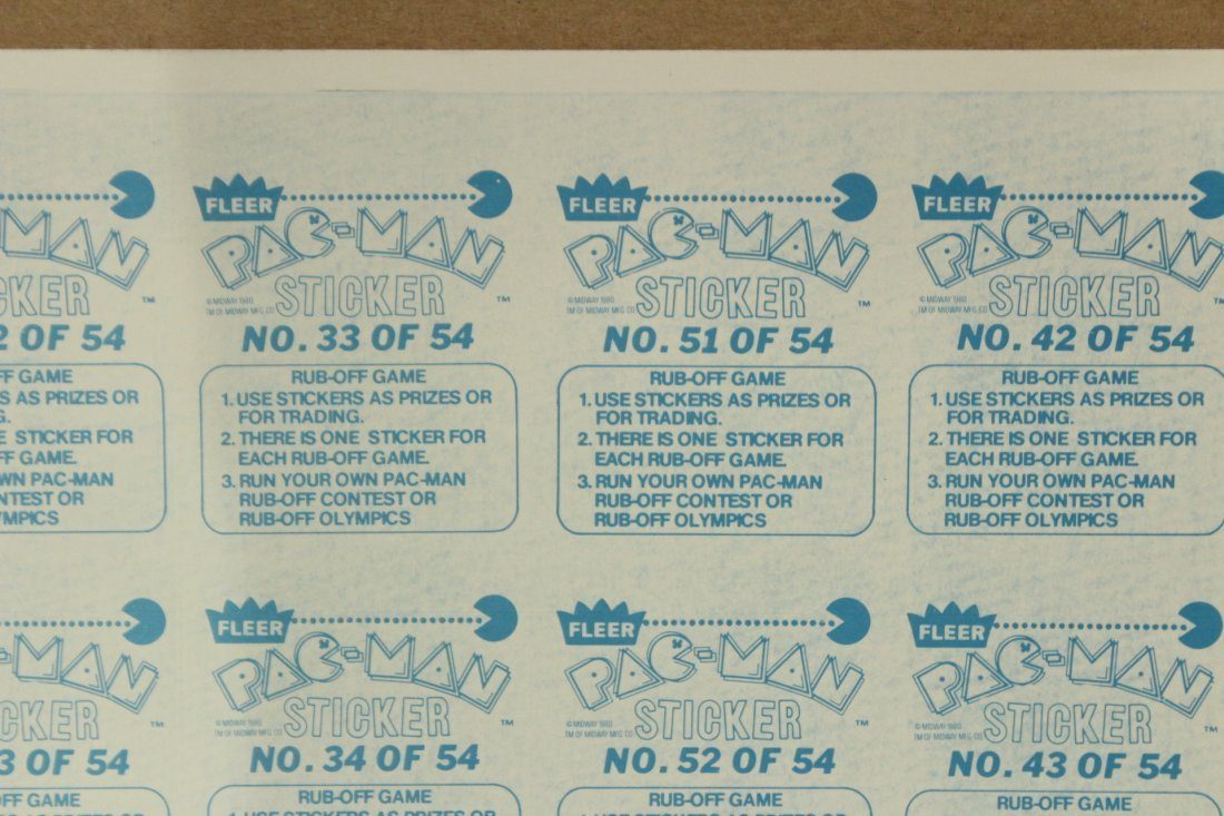 PAC MAN 2 Vintage Uncut Sheets STICKERS / TRADE CARDS - 6
