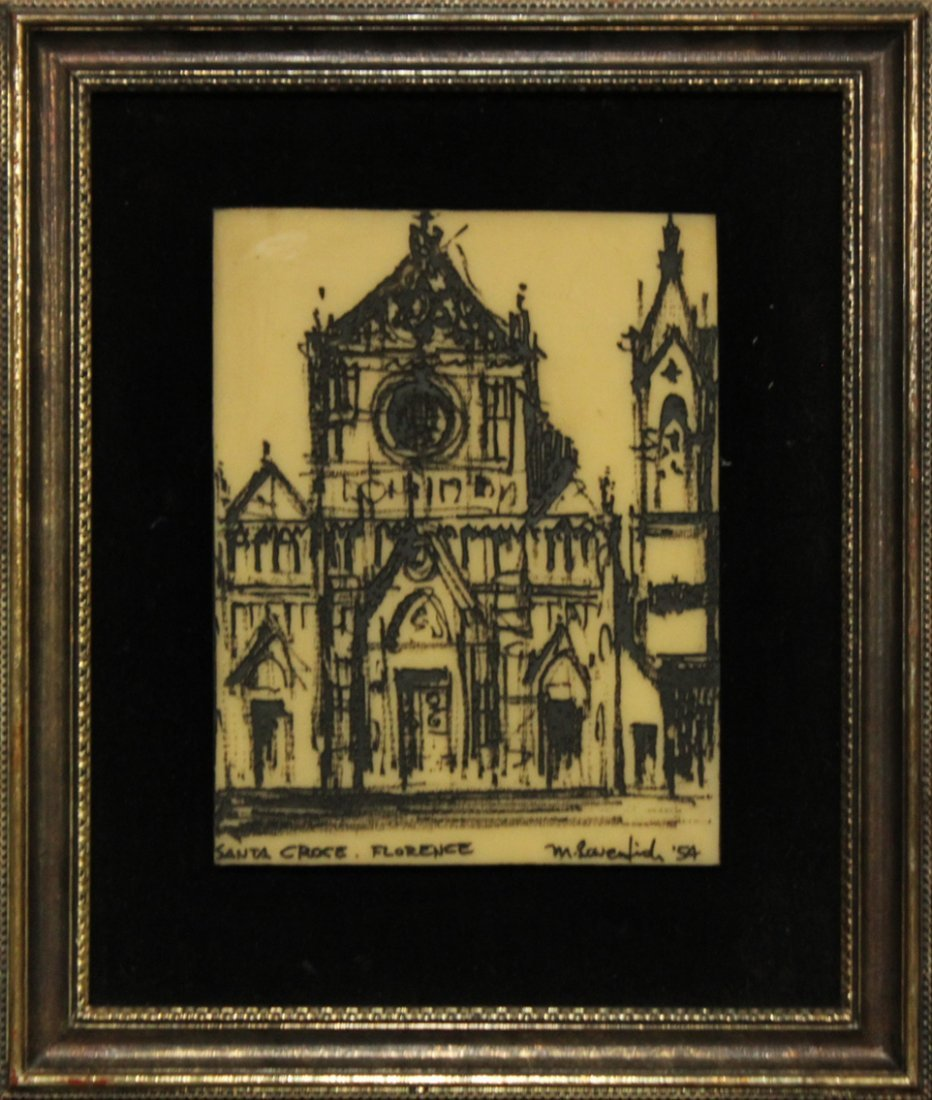 Florence Engraving Signed Lamentich '54, Framed.
