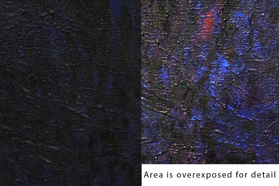 TWO [2] DARK BLUE ABSTRACT OIL / ACRYLIC ON CANVAS - 3
