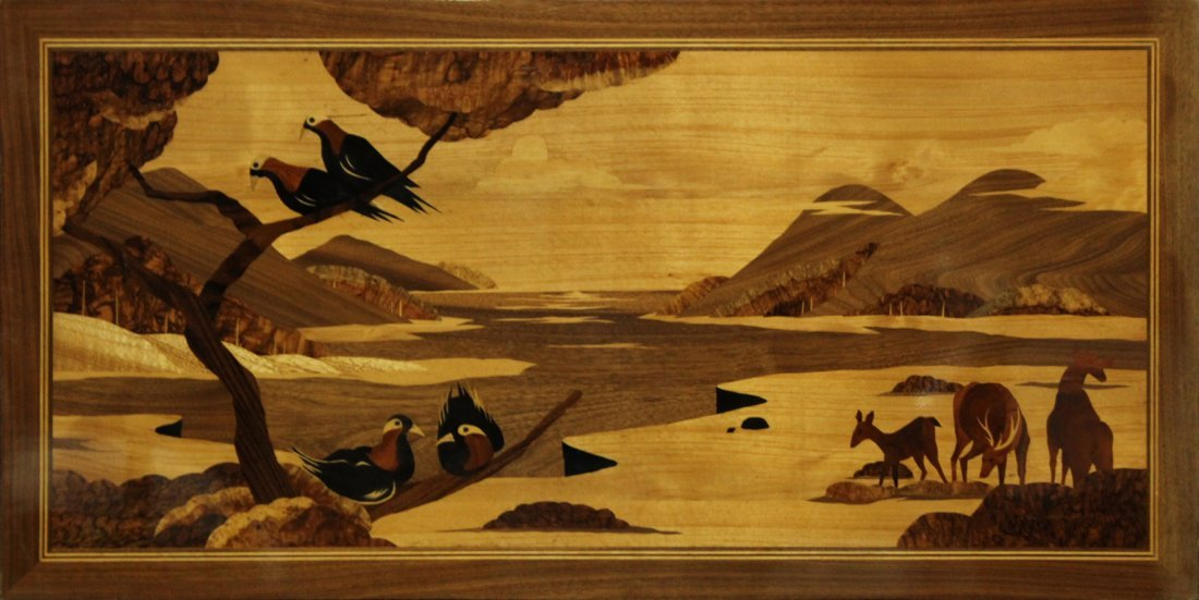 EXOTIC WOODS MARQUETRY INLAID PANEL LAKE, DEER, BIRDS