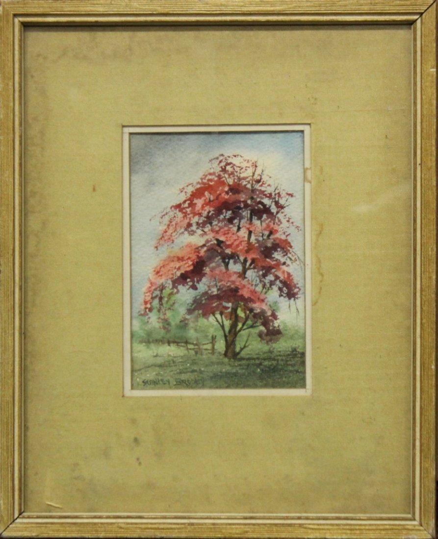 STANLEY BRODEY Listed American Artist WC FLOWERING TREE