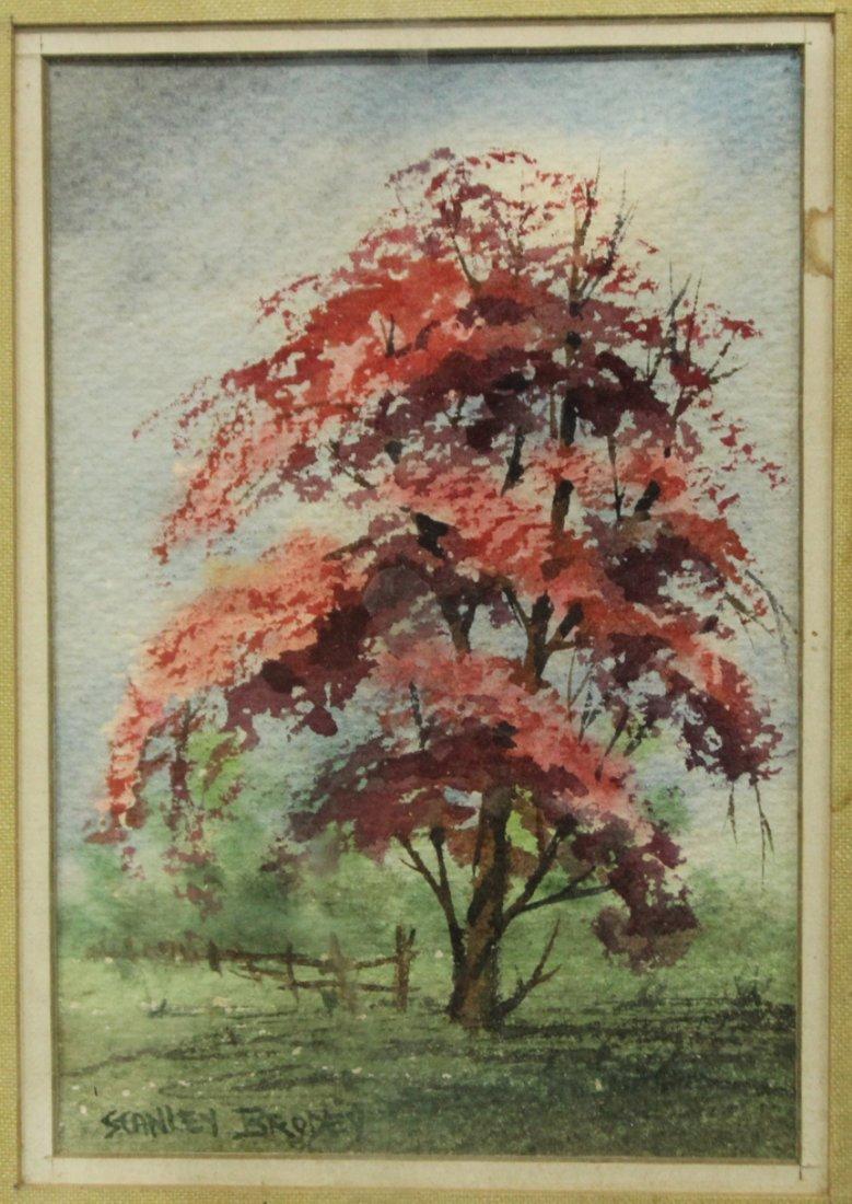 STANLEY BRODEY Listed American Artist WC FLOWERING TREE - 2
