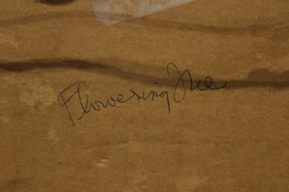 STANLEY BRODEY Listed American Artist WC FLOWERING TREE - 4