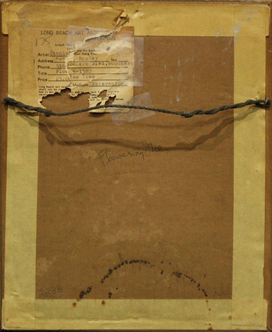 STANLEY BRODEY Listed American Artist WC FLOWERING TREE - 6