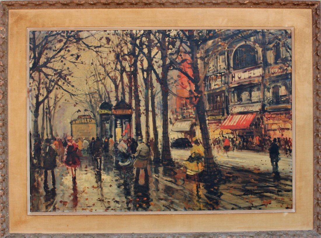 1950s Superb Quality PARISIAN STREET SCENE Signed Illeg