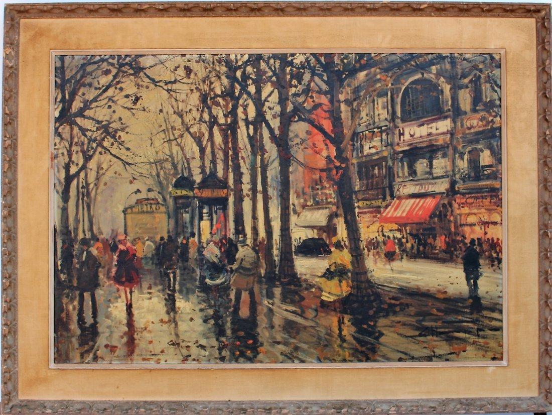 1950s Superb Quality PARISIAN STREET SCENE Signed Illeg - 2