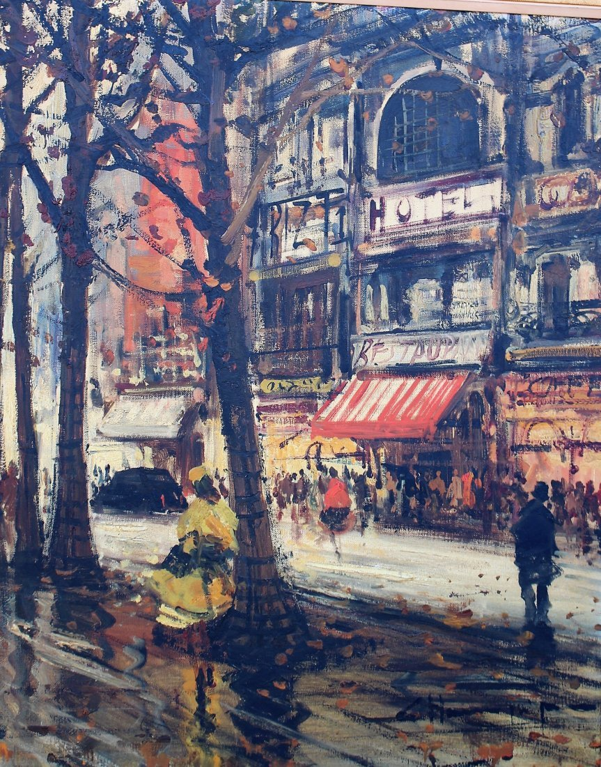 1950s Superb Quality PARISIAN STREET SCENE Signed Illeg - 5