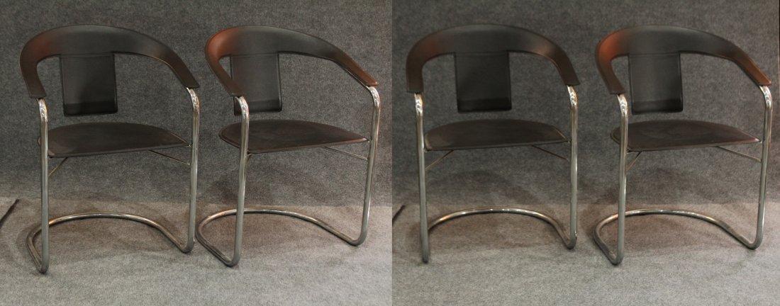 Italian Modern Horseshoe Black Leather Chrome Chairs