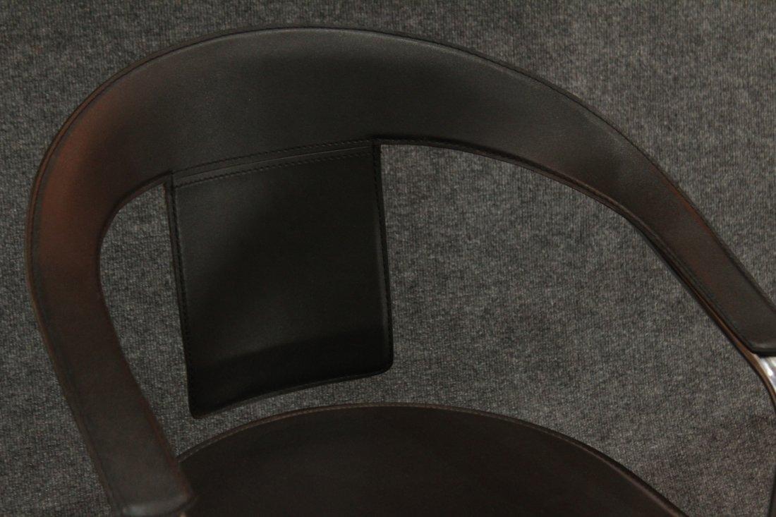 Italian Modern Horseshoe Black Leather Chrome Chairs - 2