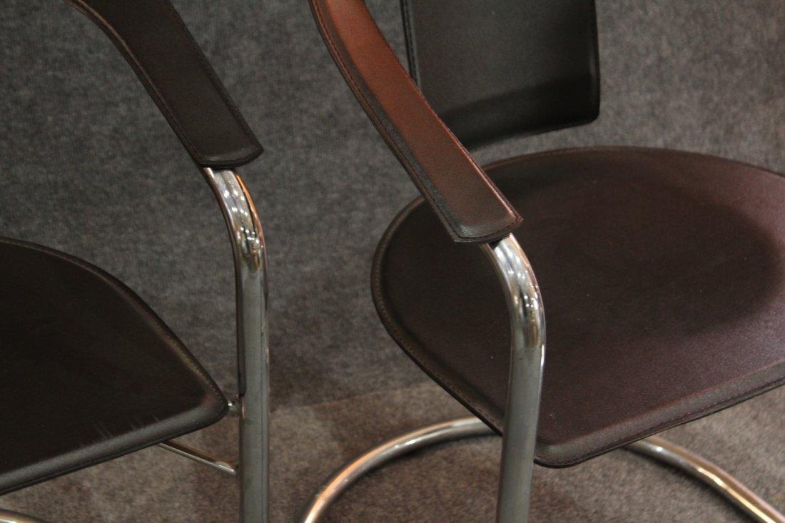 Italian Modern Horseshoe Black Leather Chrome Chairs - 3