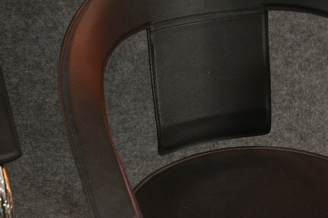 Italian Modern Horseshoe Black Leather Chrome Chairs - 4