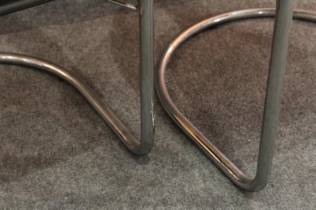 Italian Modern Horseshoe Black Leather Chrome Chairs - 5
