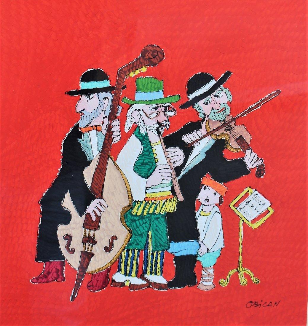 Jovan Obican  (1918 - 1986) Acrylic HASIDAC MUSICIANS