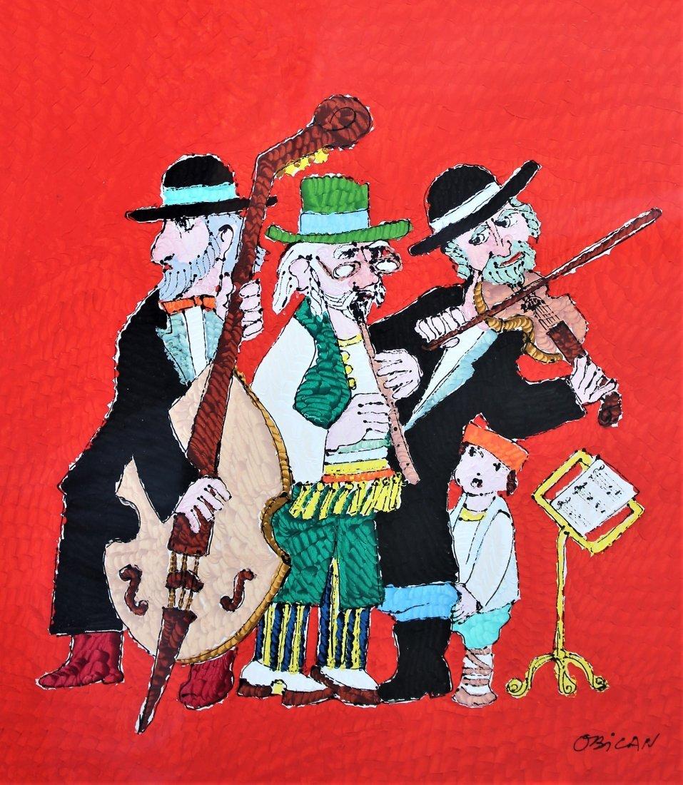 Jovan Obican  (1918 - 1986) Acrylic HASIDAC MUSICIANS - 2