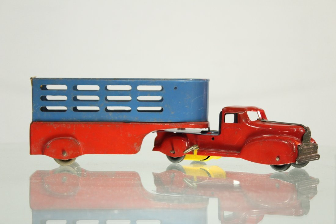 Antique PRESSED STEEL TRUCK STAKE BED TRAILER
